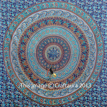 Indian Mandala Tapestry, Tapestry Wall Hanging, Hippie Tapestry, Indian Bedspread, Bohemian, Elephant Mandala Tapestries, Dorm Bedding Decor