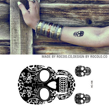 HC1106 Men And Women Sexy Arm Shoulder Chest Tattoo Art Skull Design Fake Tattoo Stickers Waterproof Temporary Tattoo Stickers