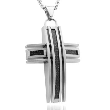 Men's Brushed Titanium Cross Pendant with Black Carbon Fiber Inlay