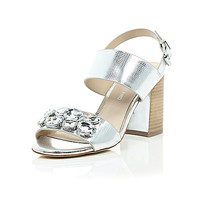 River Island Womens Silver jewel embellished block heel sandals