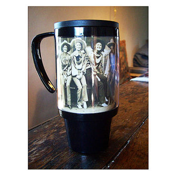 cowgirl travel mug retro vintage 1950's pin up girl western rockabilly coffee cup kitsch