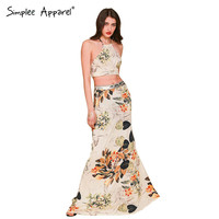 Women elegant maxi dress Two pieces backless halter cross maxi dress Flower print boho style vestido de festa