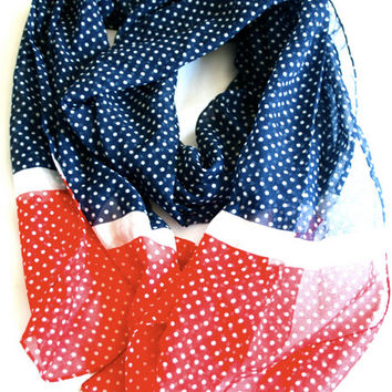 Red, White, and Blue Polka Dot Scarf