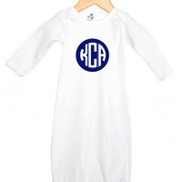 Circle Monogram Personalized on Baby Gown, Onesuit or Kid's T-Shirt
