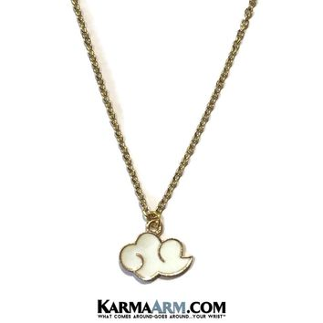 Necklace | DREAM BIG | Vintage Enamel White Cloud | Gold Stainless Steel Chain Necklace