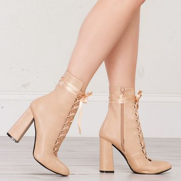 Lace Up Heeled Booties in Black and Nude