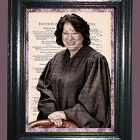 Sonta Sotomayer Supreme Court Judge Art - Vintage Dictionary Book Page Art Upcycled Page Art  Woman Judge Print
