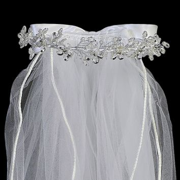 Rhinestone Centered Crystal Flowers & Pearls Crown Veil  First Holy Communion (One Size Girls)