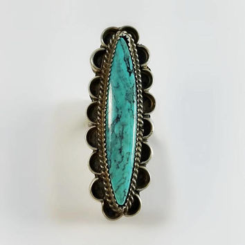 Long Turquoise Ring - Native American Turquoise Ring Size 6.25 - Signed Navajo Turquoise Ring - Sterling Turquoise Ring