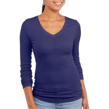 No Boundaries Juniors Long Sleeve V Neck Ribbed Tee - Walmart.com