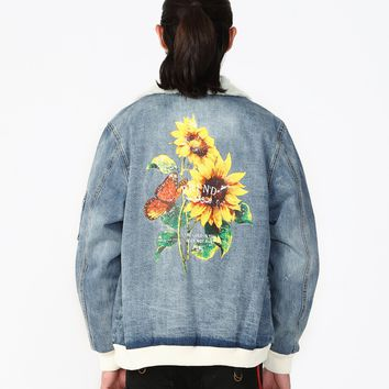 Denim Shearling Sunflower Print Bomber
