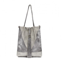 Grey Leather Tassel and Embroidered Detail Bag
