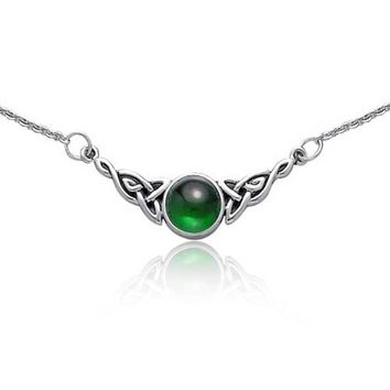 Green Simulated Emerald Celtic Love Knot Necklace 925 Sterling Silver