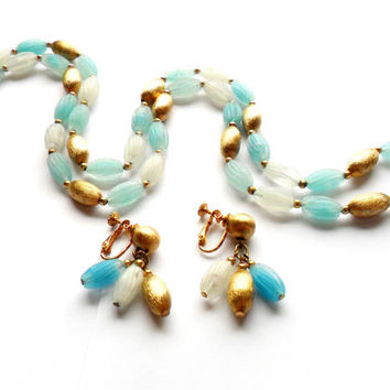 Napier Long Necklace Earrings Set Vintage Demi Parure Frosted Blue White Gold Bead Screw Back Clip