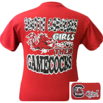 New South Carolina Girls Love Their Gamecocks Girlie Bright T Shirt