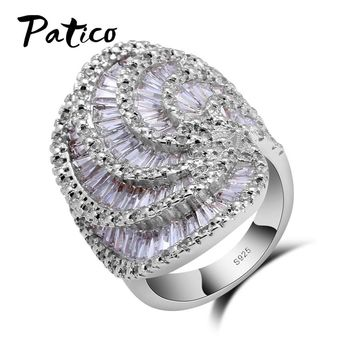 PATICO Women Infinity Ring Valentine Day Fashion Love Band 925 Sterling Silver Ring Cubic Zirconia Wedding Accessories Jewelry