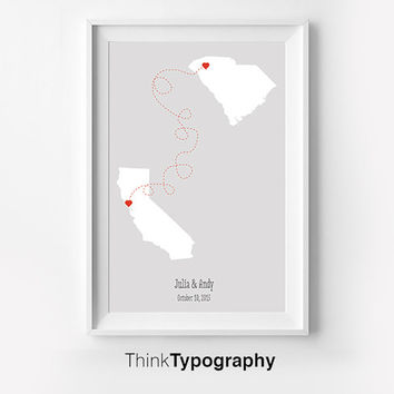 State Art print Location Wedding art print, home decor wedding gift couple location art print location print, wedding date print