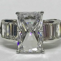 A Flawless 6.2CT Emerald Cut Russian Lab Diamond Engagement Ring