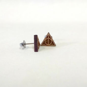 Harry Potter Deathly Hallows Symbol Laser Engraved Wood Earrings