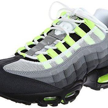 Air Max 95 Youths Men's Shoes Essential Leather Trainers White/Neon 10 D(M) US=44EU w