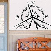 Mountains Compass Rose Wall Decal Vinyl Sticker Decals Nautical Compass Navigate Ship Living Room Bedroom Decor Nautical Wall Decal NV135 (15x22)