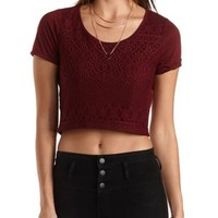 Lace Front Short Sleeve Crop Top by Charlotte Russe - Burgundy