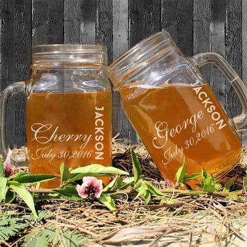 2016 Hot 450ml Wedding Mason Jars Custom Name and Dates Personalized Mason Bottle Vintage Mason Jars Lot Glass Drinking Bottle