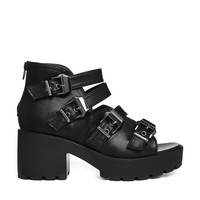 Truffle Platform Buckle Strap Heeled Sandals