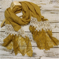 Lace Scarf, Scarves, long, Mustard / ivory lace | SC3