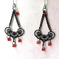 Bali style filigree scroll chandelier earrings for valentines day