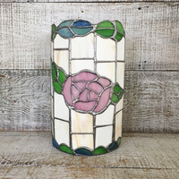 Stained Glass Candle Holder Large Glass Candle Sleeve Stained Glass Jar Candle Cover Pillar Candleholder Stained Glass Rose Boho Decor