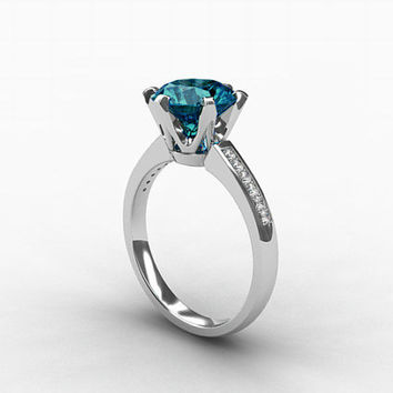 2.50ct London blue topaz ring, Diamond, White gold, Engagement ring, Solitaire, Blue, Diamond engagement, Topaz engagement, London blue