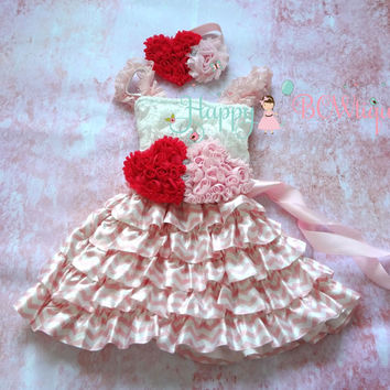 SALE, Pink Heart Chevron Lace Dress, Valentines dress, Pink Dress,baby dress,Birthday outfit,girls dress,wedding,baby girls dress,Valentines