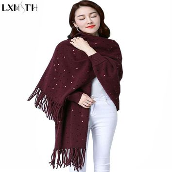 LXMSTH Casual Sweaters Autumn Winter Women Long Sleeve Cardigan Knit Coat Shawl Batwing Sleeve Tassels Sequins Sweater Female