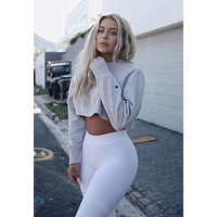 Champion Casual Long Sleeve Crop Top Shirt Sweater Pullover