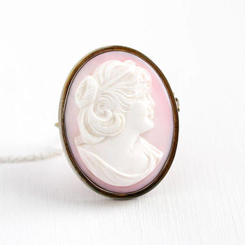 Vintage Cameo Pendant - Angel Skin Coral Silver Tone Brooch Pin - Large Light Pink & White Oval Statement on Sterling Silver Chain Jewelry