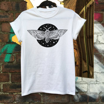 Screen Printed Cosmic Moth Unisex Tee
