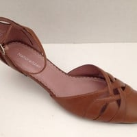 Naturalizer Shoes Womens Size 7.5 M Heels Tan with Ankle Strap Leather 7 1/2 M