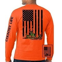 Country Life Outfitters Orange Camo USA Deer Flag Unisex Long Sleeve T-Shirt