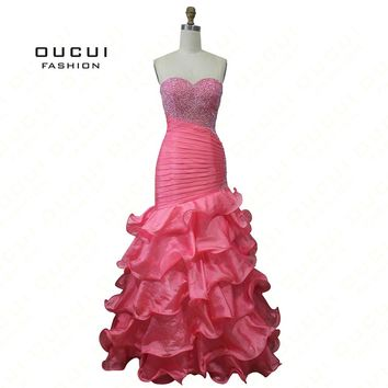 Real Photos Ceiba Organza Fabric Beading and Pleat 100% Handwork Strapless Prom Dresses OL102039