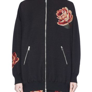 Alexander McQueen | Rose tapestry knit oversized bomber jacket | Women | Lane Crawford - Shop Designer Brands Online