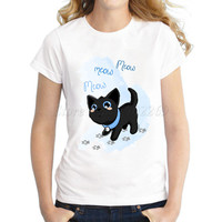 New arrival Women's pussy cat cartoon Printed customized T shirt funny animal design lady fashion hipster casual slim tops/tee