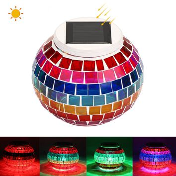 Solar Powered Mosaic Glass Ball Light LED Garden Lights Night Lamp Table Lamps Lawn Light with RGB Color Gradual Changing & White LED for Landscape Lawn Beach Courtyard Holiday Christmas Party Decoration