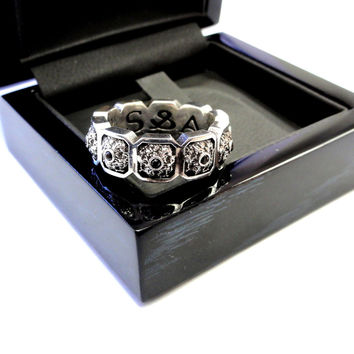 Men's Silver Eternity Black Diamond Wedding Band Ring by Sacred Angels