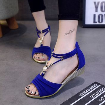 Fashion Summer Women T-Strap Beach Shoes Beaded Flat Sandals Wedge Ankle Strap