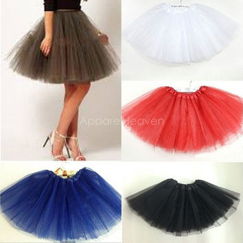 Adult Women Girl Princess Pettiskirt Party Ballet Tutu Skirt Mini Dress 17Color [9305912775]