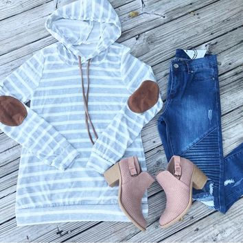 Elbow patch stripe hoodie