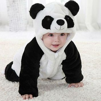 Free Shipping 2017 New Cute Animal Panda One Piece Long Sleeve Cotton Newborn Baby Romper Baby Costume Clothing Clothes