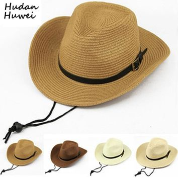 Summer paper Straw Cowboy Hats for Men Women Children Foldable panama cap Beach Sunhat Wide Brim Cowboy Cowgirl Formal Hat GH-42