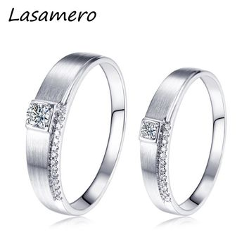 LASAMERO Solitaire Rings for Men and Women 0.065CT Round Cut Natural Diamond Couple Rings 18k White Gold Engagement Wedding Ring